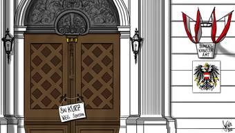 Nach der Entlassung von Sebastian Kurz ist das Bundeskanzleramt momentan verwaist. Gesucht wird ein Übergangskanzler; nach den Volkswahlen im Herbst könnte Kurz wieder ins Amt zurückkehren.