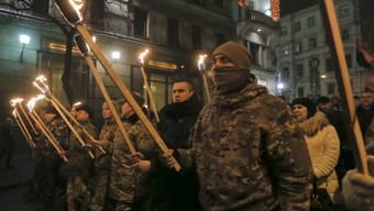 Fackelmarsch ukrainischer Nationalisten zu Ehren von Stepan Bandera