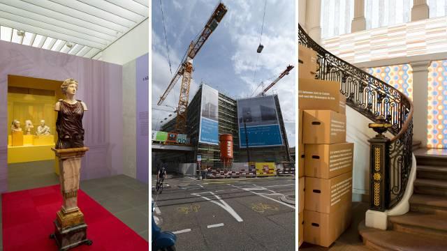 Die Kultur muss Luxusprojekte streichen oder aufschieben. Betroffen sind das Antikenmuseum (links) und das Haus zum Kirschgarten (rechts). Glück hatte das Kunstmuseum (Mitte).