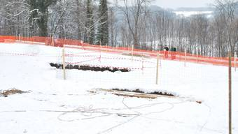 Krater auf dem Acker: Da der Boden gefroren ist, bewegt sich das Gelände momentan kaum. (Lak)