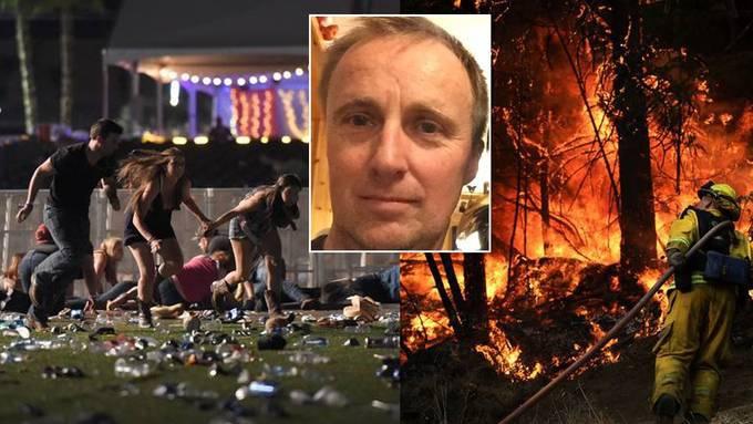 Zuerst war Sommerhalder Zeuge des Massakers in Las Vegas (links). Zur Erholung fuhren er und seine Familie aufs Land – wo jedoch Waldbrände wüten.