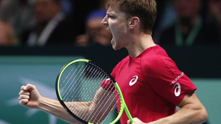 David Goffin lässt im ersten Einzel des Davis-Cup-Finals dem Franzosen Lucas Pouille keine Chance