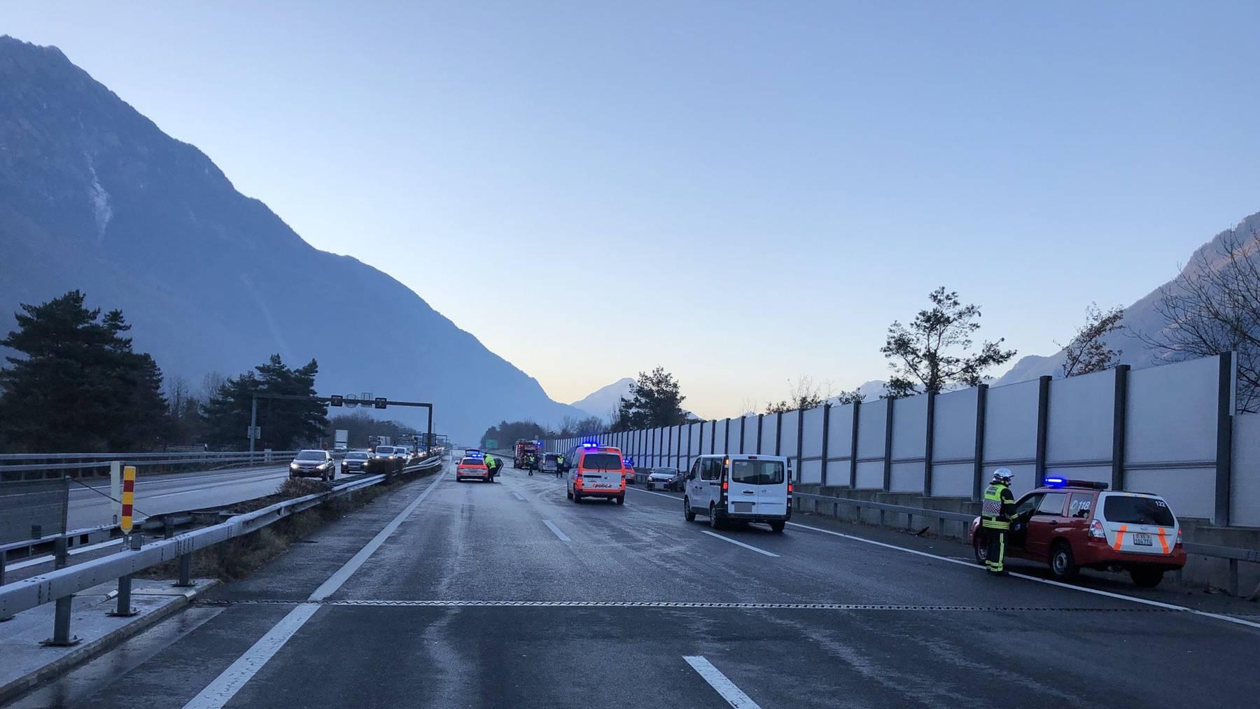 Die Unfallstelle bei St.Maurice im Wallis