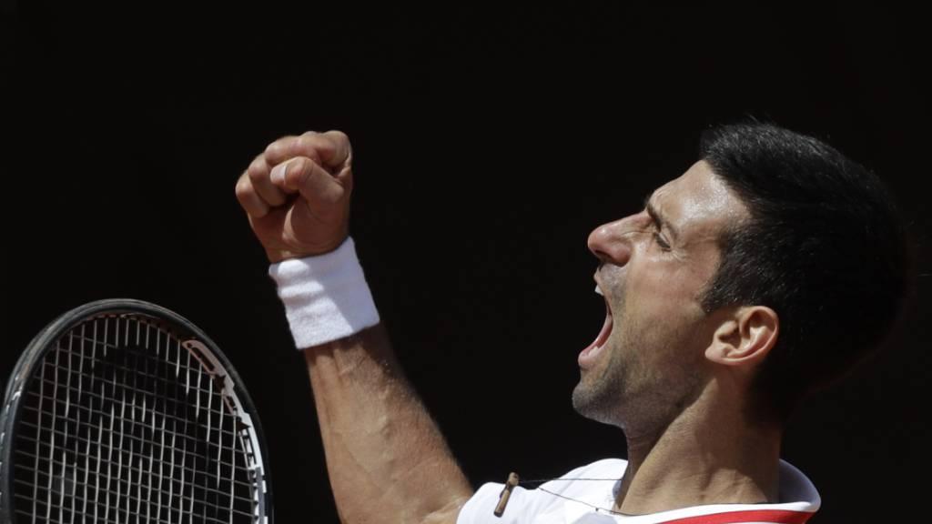 Novak Djokovic bejubelt seinen Halbfinal-Einzug in Rom
