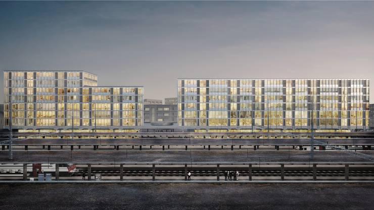 Ein Riesenkomplex soll in den nächsten rund vier Jahren auf der schmalen Insel zwischen den SBB- und den WSB-Gleisen realisiert werden.  (Visualisierung)