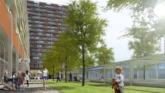 So wäre das Projekt mit den Wohnbauten und dem Bahnhof geplant gewesen.