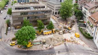 Der Postplatz in Solothurn soll bis im August 2021 umgestaltet sein, die benachbarten Strassenzüge bis 2027.
