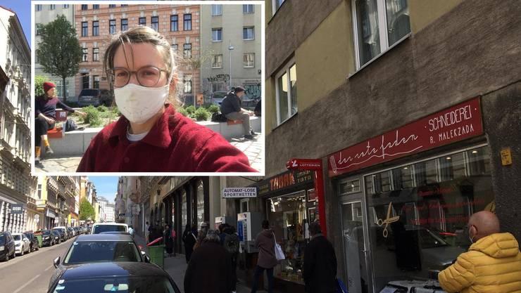 In Österreich begann am Dienstag die schrittweise Lockerung der Massnahmen. Die 29-jährige Helen Galliker lebt in Wien und erzählt im Interview von ihrem neuen Alltag. (Bild: ZVG / Montage Watson)