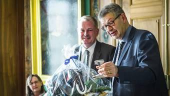 Chlausmarktzusammenkunft der Gemeindeammänner und -schreiber aus dem Bezirk Lenzburg mit Vortrag von Landstatthalter Stephan Attiger und der Schelte des Stadtklauses. Aufgenommen am 8. Dezember 2016 im Burghaldenhaus in Lenzburg.