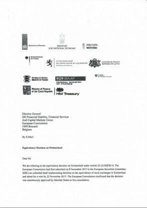 In einem gemeinsamen Brief beschweren sich elf EU-Länder über die Art und Weise, wie es zum Entscheid über die Börsen-Äquivalenz kam