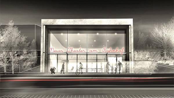 Eine Visualisierung des Theaters am Bahnhof: Auf der Seite der Gleise soll ein grosses Foyer entstehen.