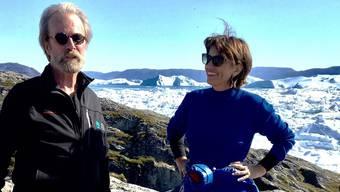 Der verunglückte WSL-Direktor Konrad Steffen im Jahr 2017 mit der damaligen Bundesrätin und Umweltministerin Doris Leuthard beim Swiss Camp in Grönland.