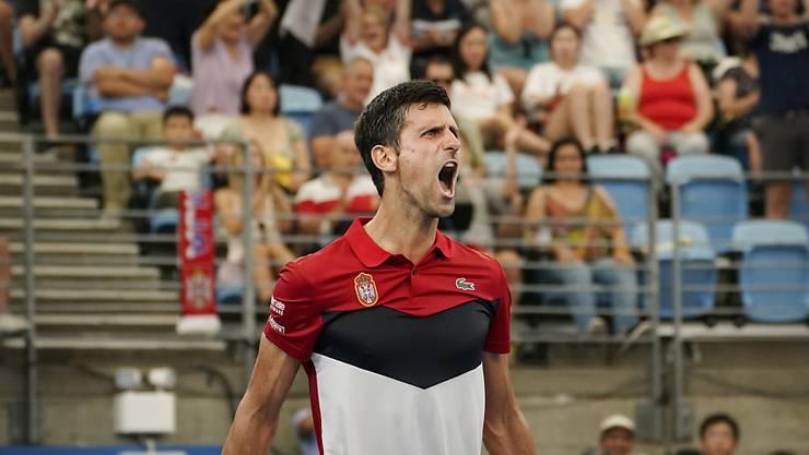 Grosse Freude nach einem harten Stück Arbeit: Novak Djokovic führt Serbien am ATP Cup in die Halbfinals
