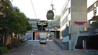 So könnte sich die Seilbahnverbindung durch die Bahnhofstrasse Richtung Parkstrasse ins Bäderquartier präsentieren.