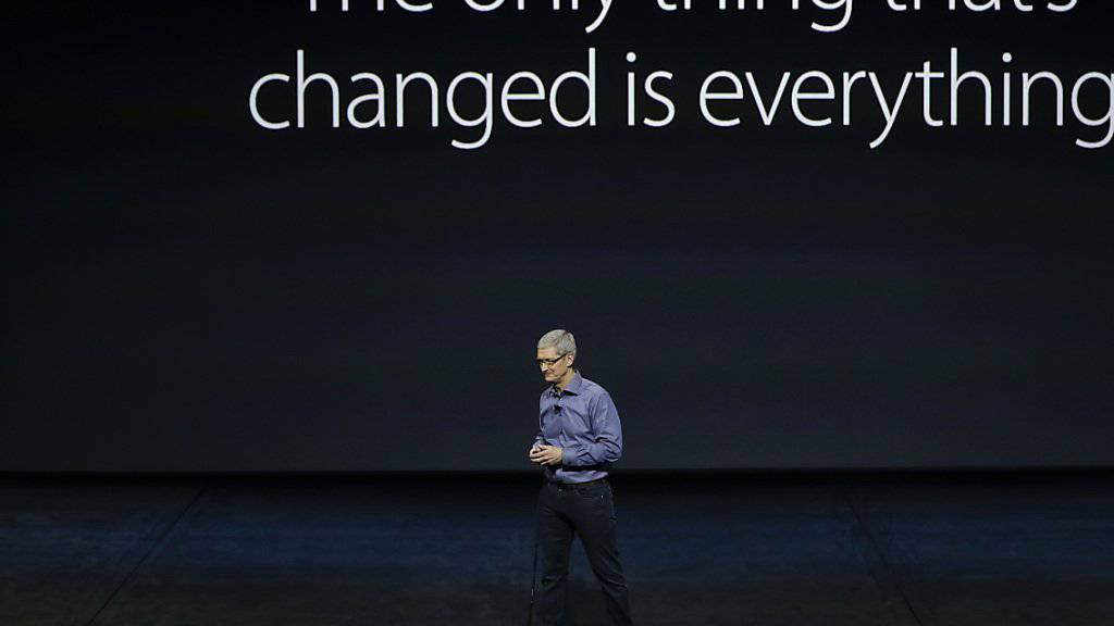 Apple-Chef Tim Cook während der Präsentation in San Francisco, unter dem Motto: es hat sich nur etwas geändert, nämlich alles.