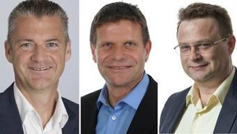 v.l.n.r.: Roland Michel, CVP, Martin Egloff, FDP, Michael Merkli, BDP.