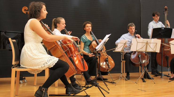 Das Ensemble Cellibassi unter der Leitung von Eva-Maria Burkard trat zum Schluss des Konzerts auf