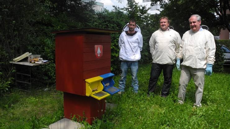 Bienenhotel beim Stadthaus (von links): Adrian Gerber, Stadtweibel Daniel Allemann und Stadtpräsident Boris Banga.