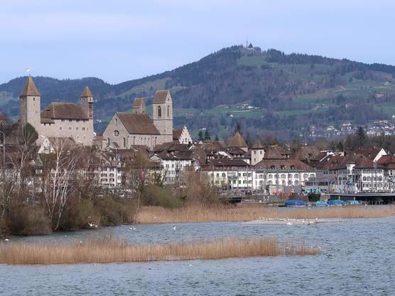 Schloss Rapperswil mit Seepromenade. Im Hintergrund der Bachtel