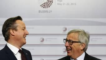 Auf Werbetour: Grossbritanniens Premierminister David Cameron trifft in Riga EU-Kommissionspräsident Jean-Claude Juncker