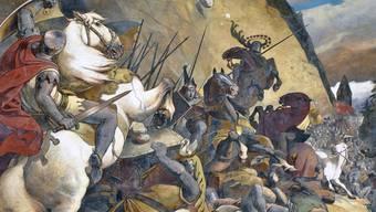 So präsentiert sich die Schlacht am Morgarten am Rathaus von Schwyz.