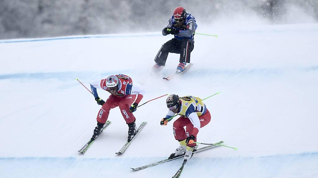 Alex Fiva (links) und Jonas Lenherr peilen in Idre Fjäll die erste WM-Medaille im Skicross im Schweizer Männerteam an