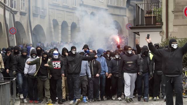 Der Marsch der FCZ-Fans durch die Berner Altstadt vor dem Cupfinal