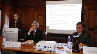 Legislaturplan: Die Regierungsräte Eva Herzog, Carlo Conti und Guy Morin (v.l.) präsentieren das vierjährige Planungsinstrument.  Andreas Frossard