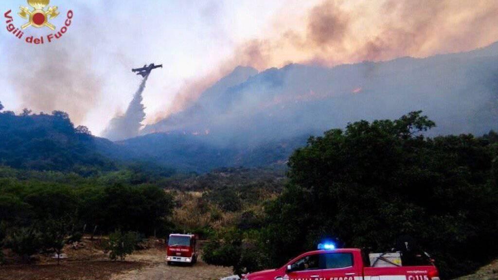 HANDOUT - Einsatzkräfte der Feuerwehr kämpfen in der Region Palermo gegen zahlreiche  Waldbrände. Foto: Vigili del Fuoco/dpa - ACHTUNG: Nur zur redaktionellen Verwendung im Zusammenhang mit der aktuellen Berichterstattung und nur mit vollständiger Nennung des vorstehenden Credits