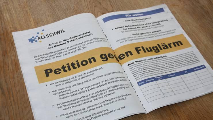 Allschwil lancierte Mitte Mai eine Petition gegen Fluglärm. Der Unterschriftenbogen wurde dreimal im Allschwiler Wochenblatt abgedruckt. Binningen und Schönenbuch schlossen sich dem Begehren an.