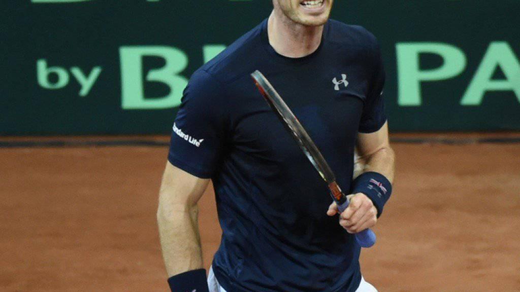 Andy Murray setzt sich mit etwas Mühe in seinem Davis-Cup-Einzel gegen Ruben Bemelmans durch und gleicht im Davis-Cup-Final zum 1:1 aus