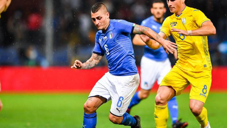 Italien, hier mit Marco Verratti, spielt im Test gegen die Ukraine 1:1 unentschieden