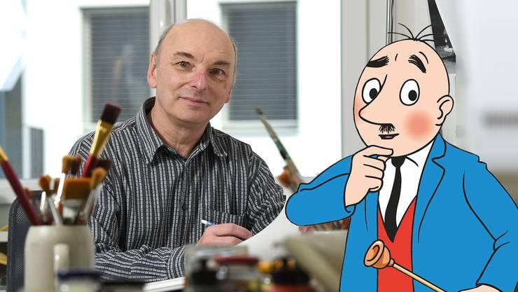 Frappante Ähnlichkeit: Rolf Meier – in seinem Atelier – und der von ihm gezeichnete Papa Moll.