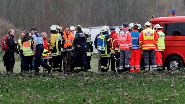 Die deutsche Polizei und Feuerwehr war mit einem Grossaufgebot vor Ort.