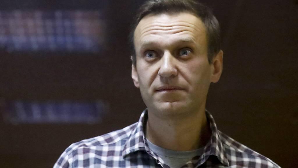 ARCHIV - Der russische Oppositionsführer Alexej Nawalny steht in einem Käfig während einer Anhörung vor dem Bezirksgericht in Moskau. Foto: Alexander Zemlianichenko/AP/dpa