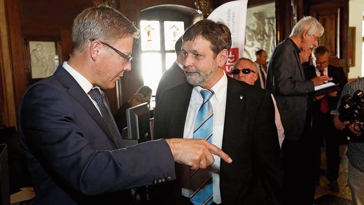 Roland Fürst (l.) und Roland Heim treten nicht mehr an (hier ein Bild am Wahltag 2013). Die CVP will ihre Sitze verteidigen.