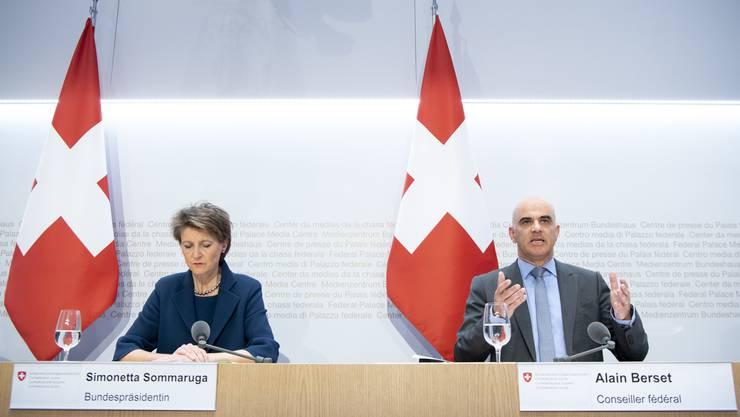 Guten Noten von den Kantonen: Bundespräsidentin Simonetta Sommaruga und Gesundheitsminister Alain Berset.