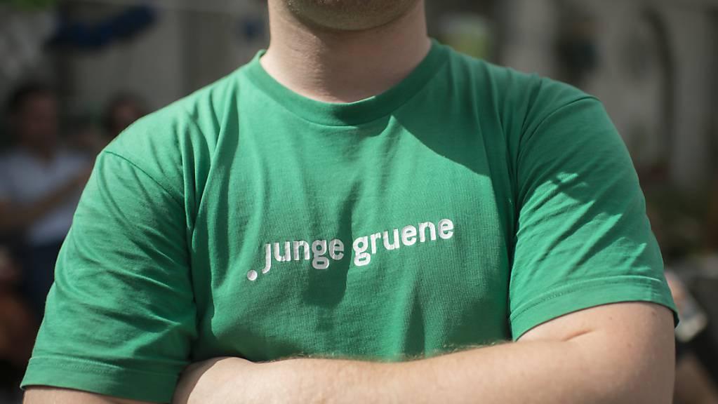 Ein Junger Grüner am 10-Jahre-Jubiläumsfest 2014 in Wabern bei Bern.