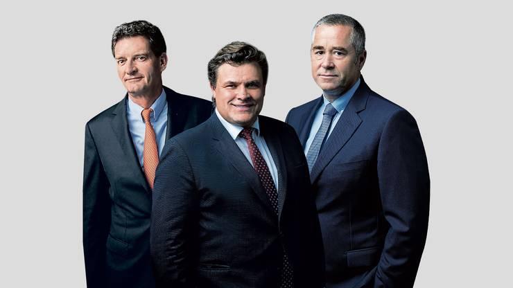 Urs Wietlisbach, Alfred Gantner und Marcel Erni (von links), die drei Gründer der Partners Group.