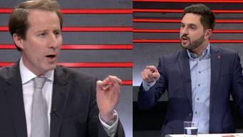 Zwei Streithälse in Aktion: SVP-Nationalrat Thomas Aeschi und SP-Nationalrat Cédric Wermuth waren alles andere als gleicher Meinung.