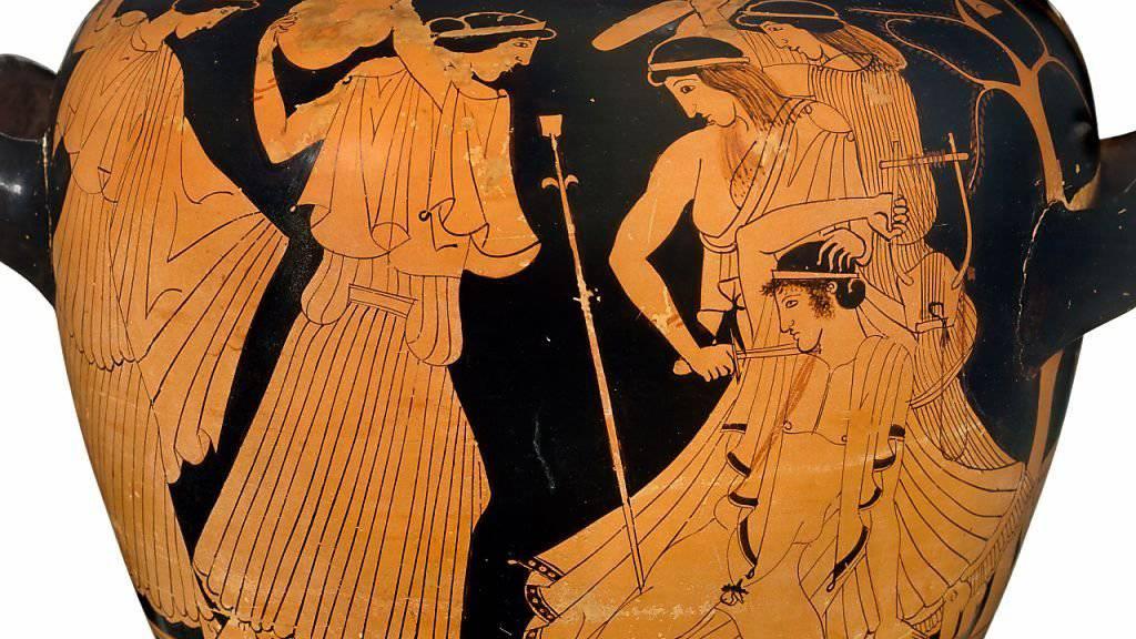 Thrakische Frauen massakrieren den Sänger Orpheus - Bild auf Weinmischgefäss aus dem fünften Jahrhundert vor Christus.
