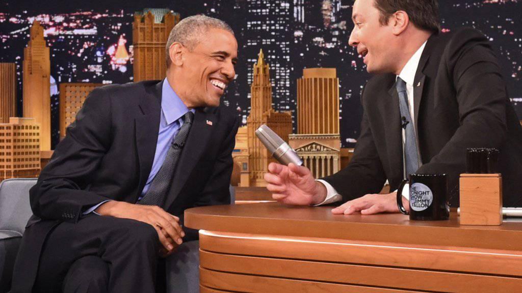 US-Präsident Barack Obama als Gast in der TV-Show von Jimmy Fallon in New York.