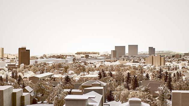 Die Modell-Ansicht von der Echolinde aus zeigt, wie sich die Silhouetten der vier geplanten Hochhäuser (rechte Bildhälfte) im Stadtbild machen würden. Am linken Bildrand ist das Telli-Hochhaus zu sehen (80 Meter hoch), rechts davon das AEW-Hochhaus (60 Meter hoch).