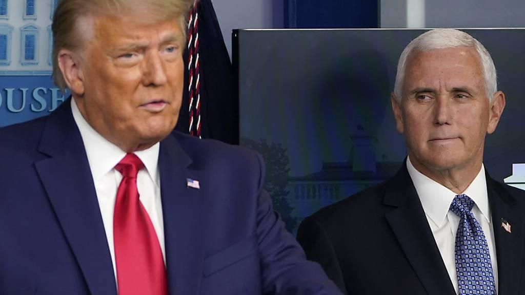 US-Präsident Donald Trump (links) und Vizepräsident Mike Pence haben sich erstmals seit den Tumulten rund um das Kapitol zu einem Gespräch getroffen. Sie unterstrichen dabei ihren Zusammenhalt. (Archivbild)