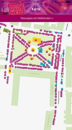 Für jeden Platz gibt es eine Karte, in der alle Stände eingezeichnet sind.