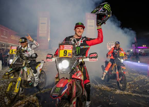 Dieses Jahr landete KTM mit Fahrer Toby Price nur auf Platz 3 bei der Dakar Rally (von links nach rechts: Pablo Quintanilla, Sieger Ricky Brabec und Toby Price).