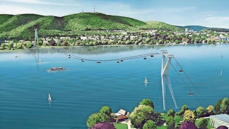 So soll die Seilbahn über den Zürichsee aussehen. Visualisierung: zvg