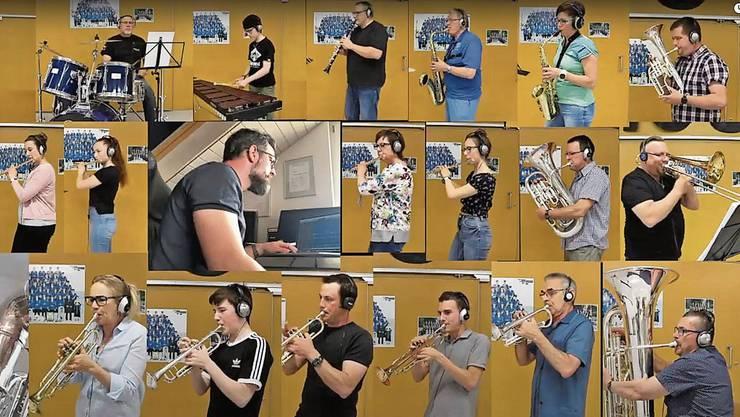 So geht «Musikgesellschaft» in Zeiten von Corona: Gemeinsames musizieren mit Abstand und auf Youtube hochladen.