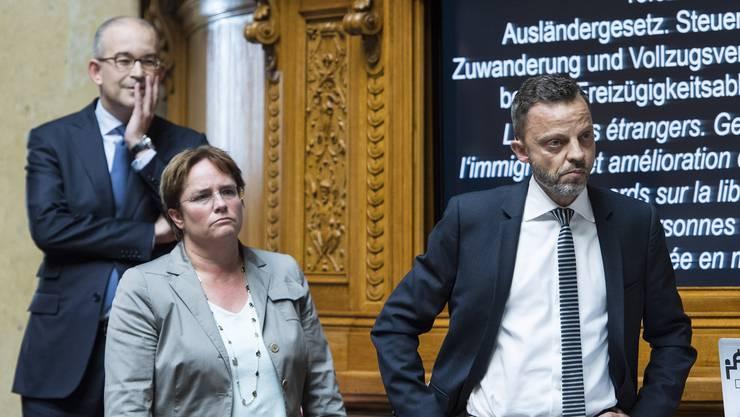 Adrian Gregor Rutz, Magdalena Martullo-Blocher und Hans-Ueli Vogt während der Debatte.