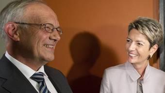 Bundesrat Johann Schneider-Ammann (FDP) lancierte Karin Keller-Sutter an ihrer eigenen Feier zur Ständerats-Präsidentin als seine mögliche Nachfolgerin.